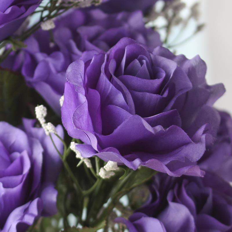 Purple Artificial Open Rose Bush Bushes Bouquets
