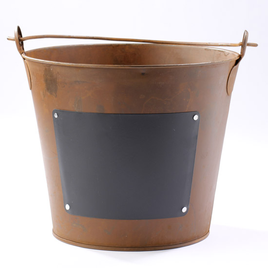 Rustic metal bucket with chalkboard label decorative for How to decorate a bucket