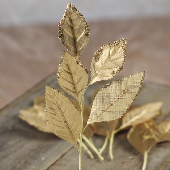 gold silk leaf picks - beach theme wedding cards