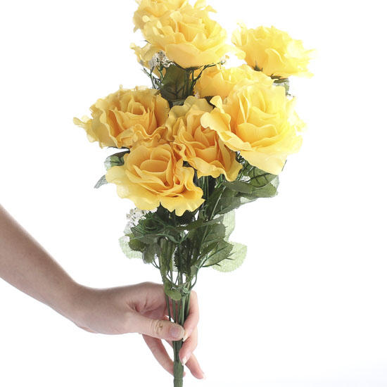 Yellow Artificial Open Rose Bush Bushes Bouquets