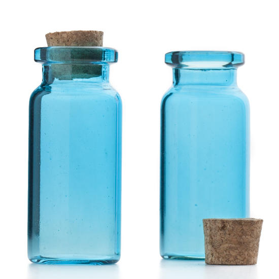 Mini Blue Glass Bottles With Cork Stopper Decorative