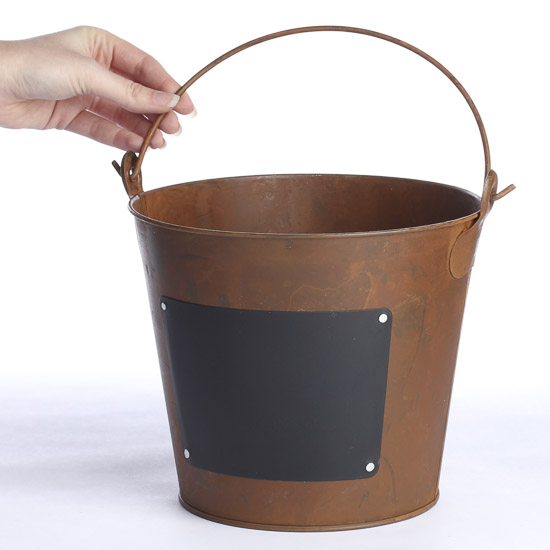 Rustic metal bucket with chalkboard label decorative for Rustic galvanized buckets