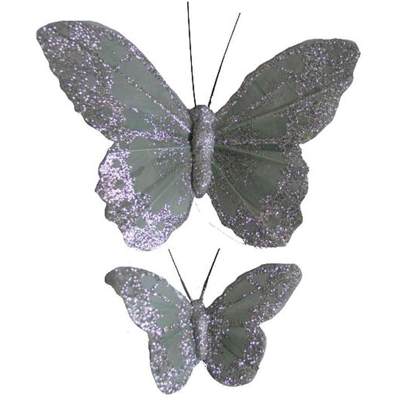 Silver Glitter Artificial Butterflies Birds