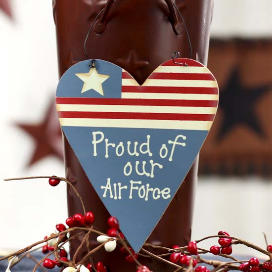 Proud of our air force wood heart ornament wall decor for Air force decoration examples
