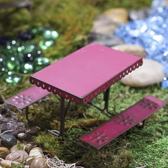 Gnome Garden: Miniature Rustic Picnic Table