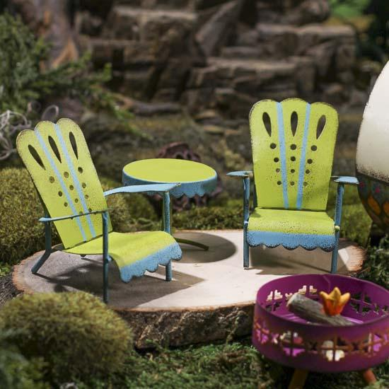 Miniature Adirondack Patio Chairs and Table Set Fairy
