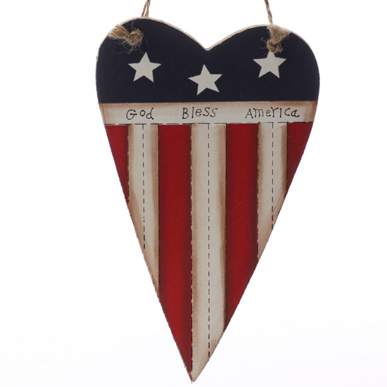Primitive Wooden Heart Flag Ornament Home Decor