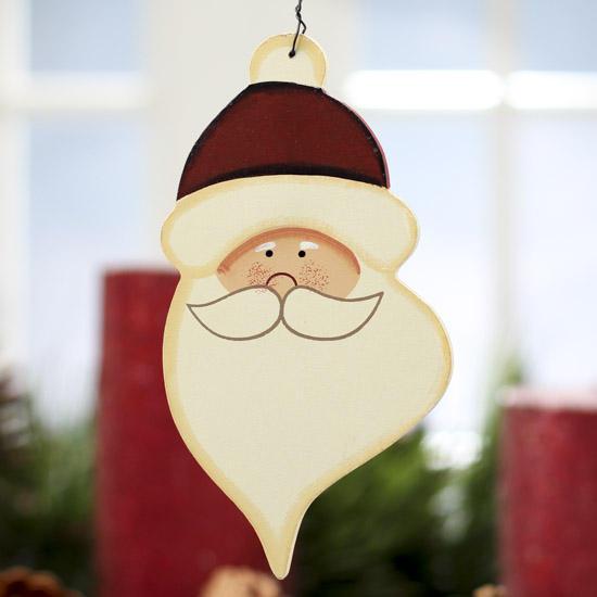 Primitive Wooden Santa Face Ornament