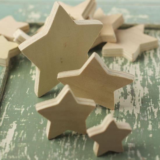 Assorted Unfinished Wood Stars Wood Stars Unfinished