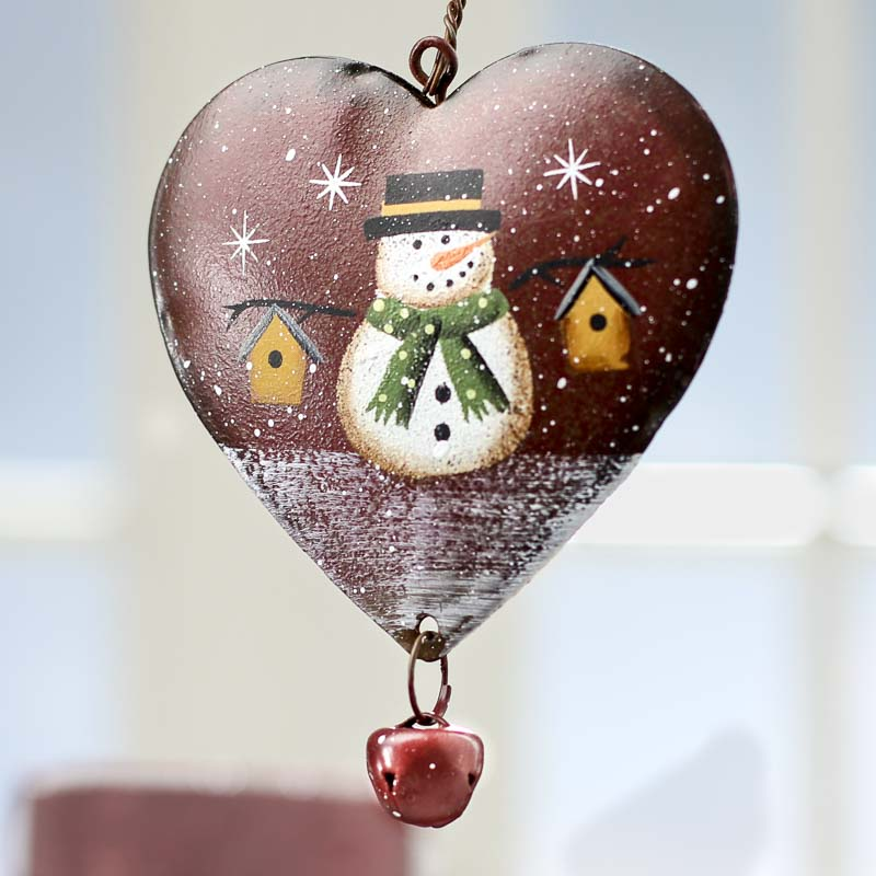 Metal snowman heart ornament signs ornaments home decor