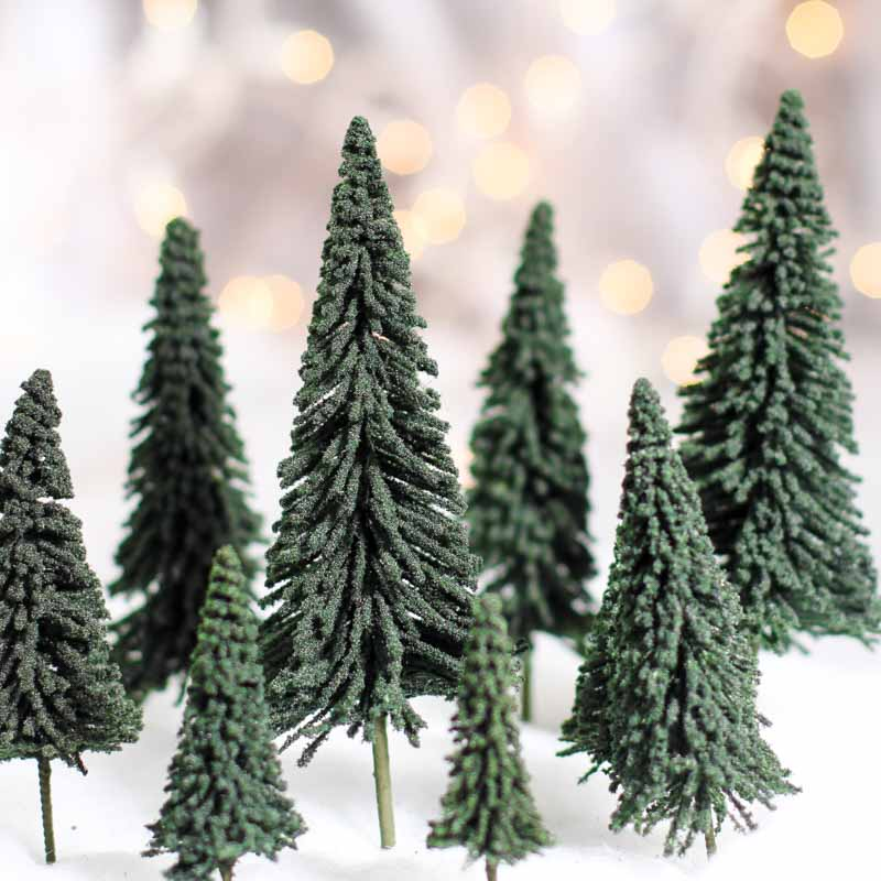 Miniature Flocked Artificial Pine Trees Christmas Miniatures