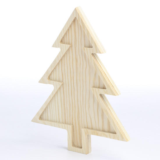 Unfinished wood christmas tree with inlay wood cutouts for Wooden christmas cutouts