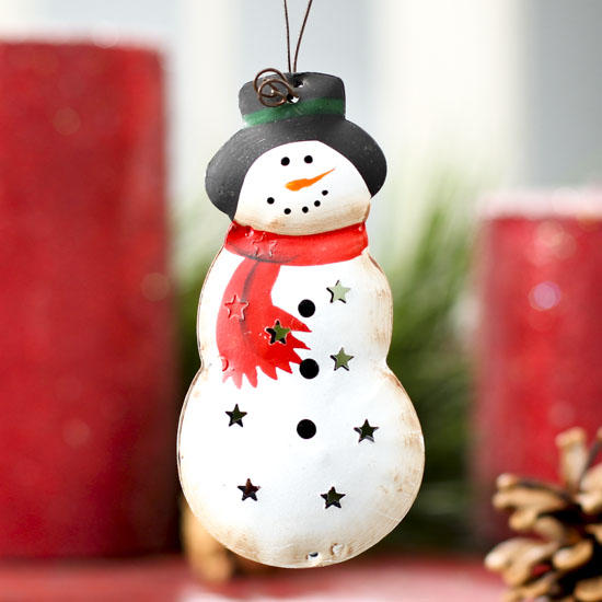 Small Primitive Metal Snowman Ornament - Christmas ...