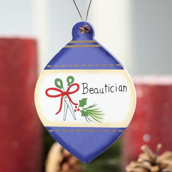 "Flat Wood ""Beautician"" Christmas Bulb Ornament"