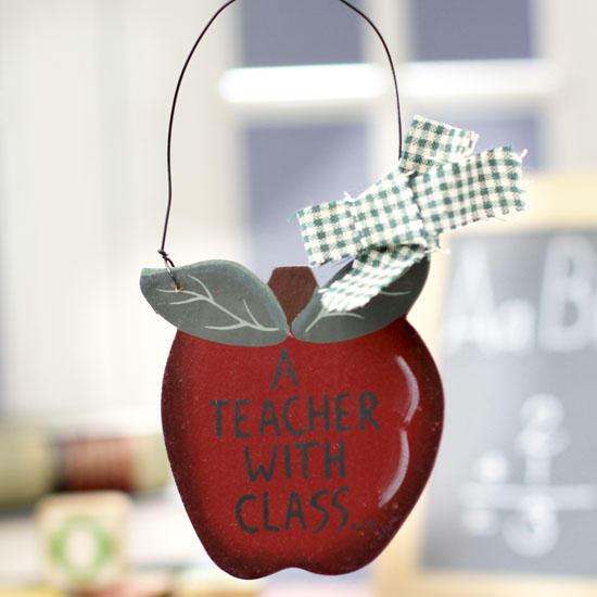 a teacher with class wood ornament sign
