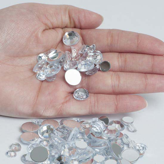 Assorted Clear Flat Back Rhinestones Vase Fillers Table Scatters Floral Supplies Craft
