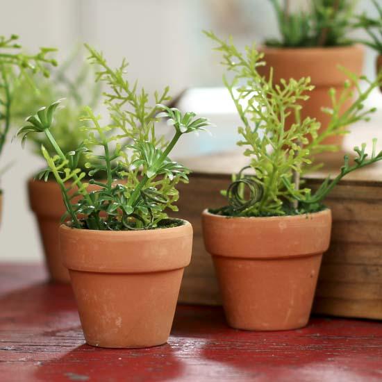 Mini Artificial Potted Herb Garden Plants Fairy Garden