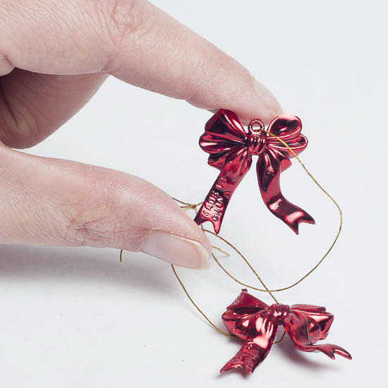 miniature red metallic bow ornaments