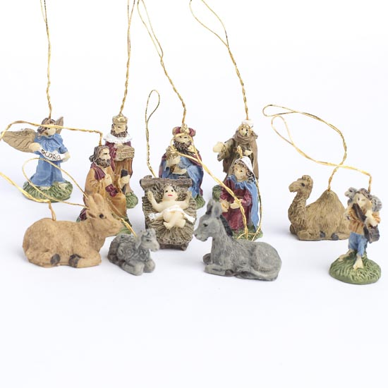 miniature nativity ornaments christmas ornaments. Black Bedroom Furniture Sets. Home Design Ideas