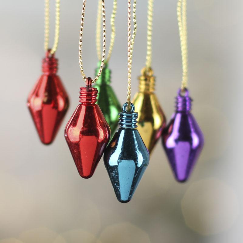 Mini Metallic Light Bulb Ornaments