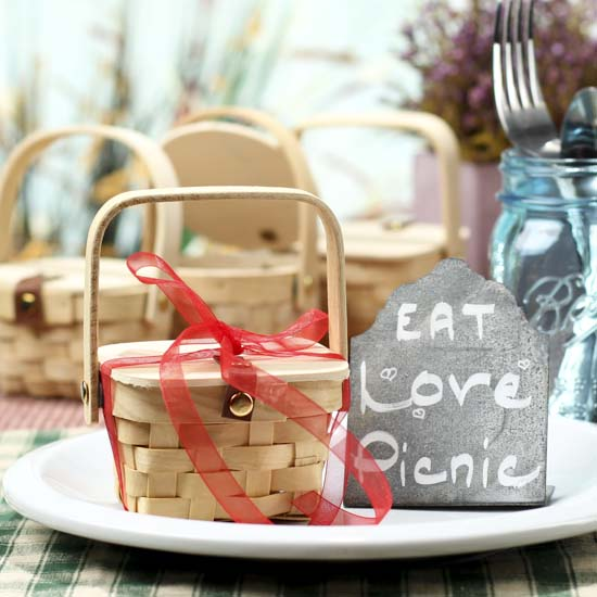 Wooden Picnic Basket Set : Small wooden picnic basket doll accessories