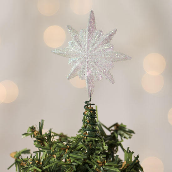 small iridescent glitter star tree topper christmas trees and toppers christmas and winter. Black Bedroom Furniture Sets. Home Design Ideas