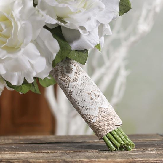 David Tutera Burlap and Lace Bridal Bouquet Wrap - Wedding Florals ...