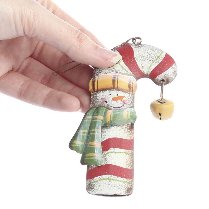 Metal candy cane snowman ornament christmas ornaments
