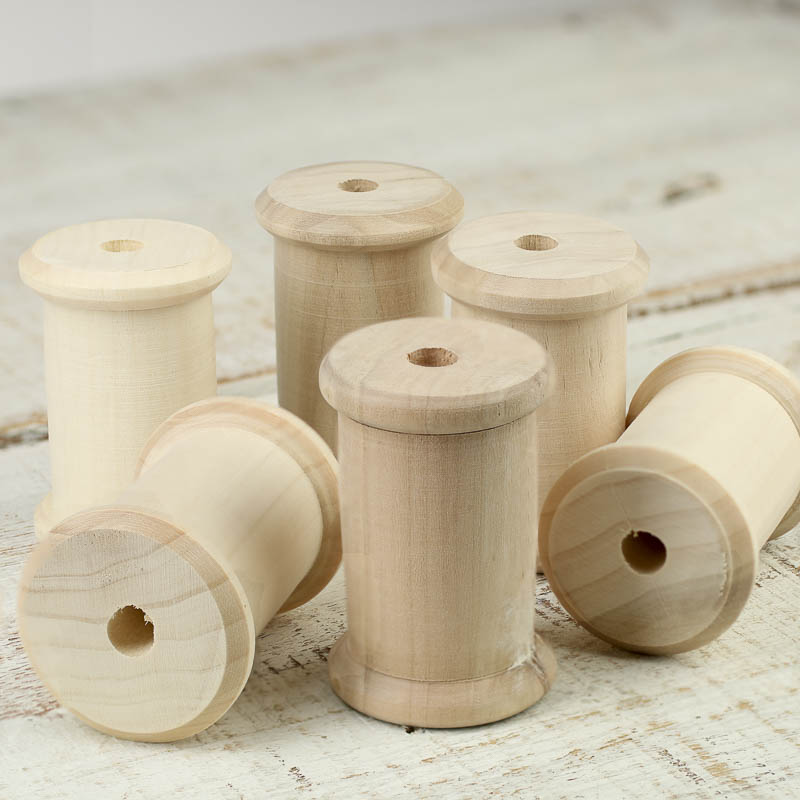Unfinished wood spool wooden spools unfinished wood for Wooden craft supplies wholesale