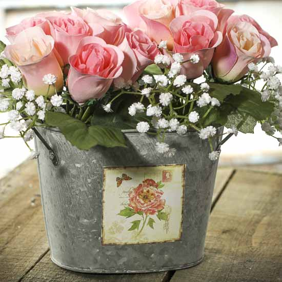 Galvanized oval flower bucket baskets buckets boxes for Large galvanized buckets for flowers