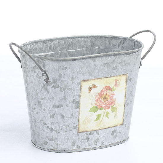 Galvanized oval flower bucket new items for Large galvanized buckets for flowers