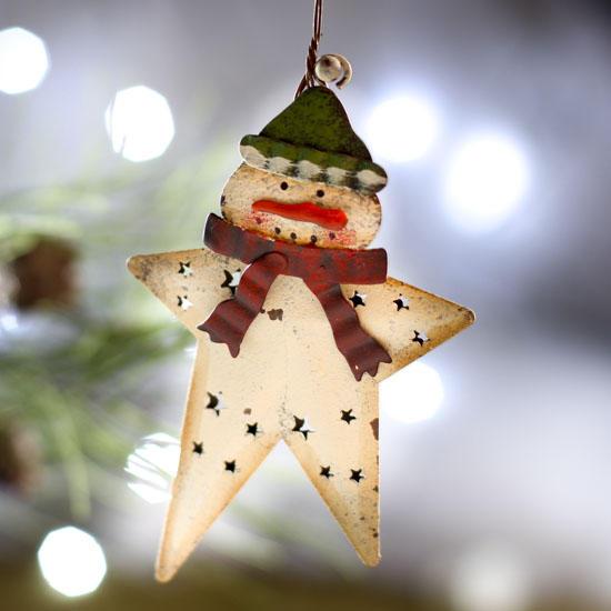 Metal Star Snowman Ornament - Signs & Ornaments - Home Decor