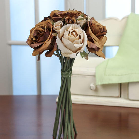 Chocolate And Tan Artificial Rose Nosegay Bouquet Bushes