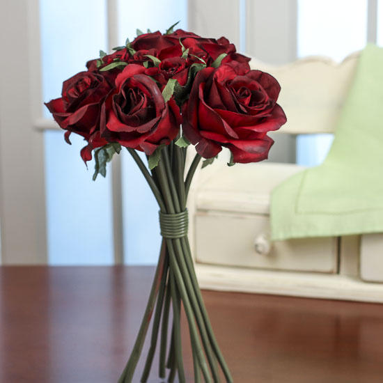 Deep Red Artificial Rose Nosegay Bouquet Bushes And