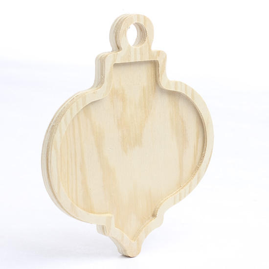 Unfinished wood christmas ornament cutout with inlay for Wooden christmas cutouts