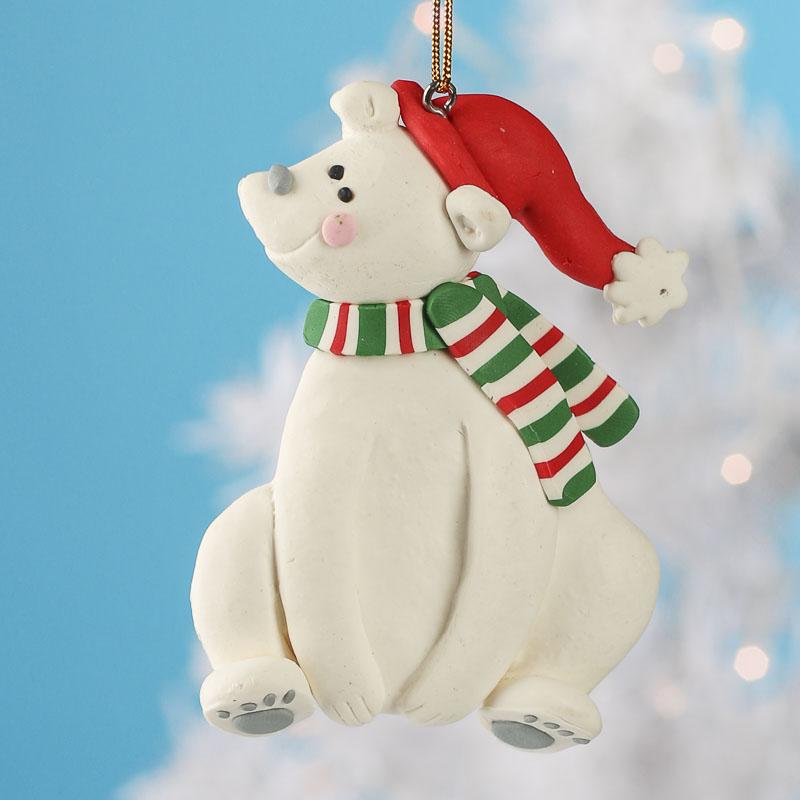 Polymer Clay Polar Bear Ornament
