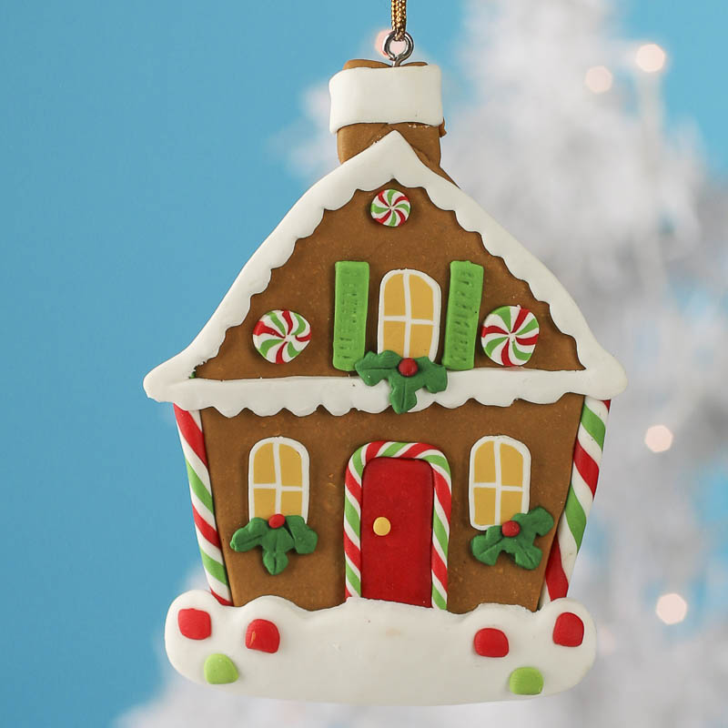 Polymer Clay Gingerbread House Ornament Christmas