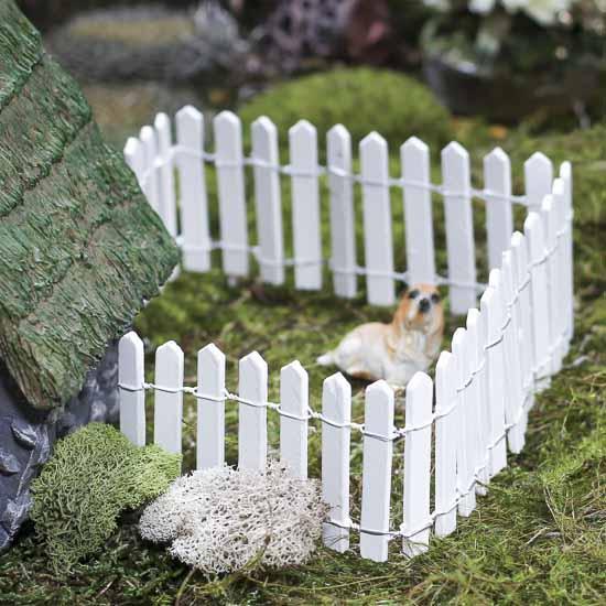 Miniature White Wood Picket Fence Fairy Garden