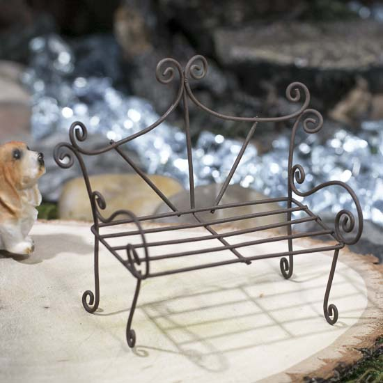Miniature Rustic Wire Bench