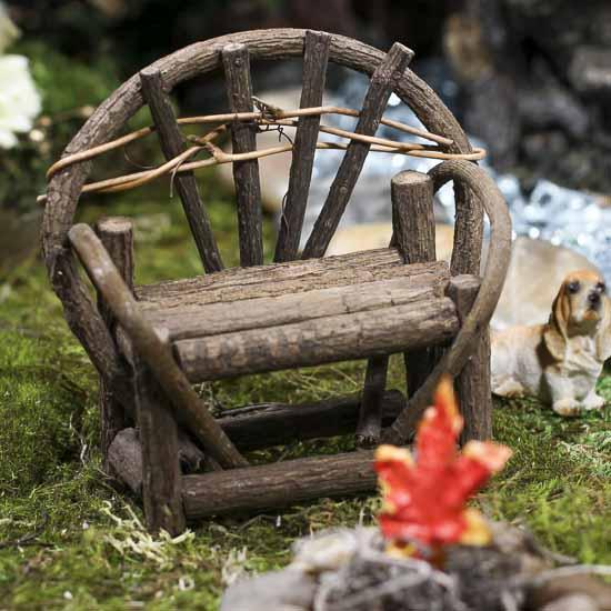 Mini Rustic Twig Vine Bench Doll Accessories Doll
