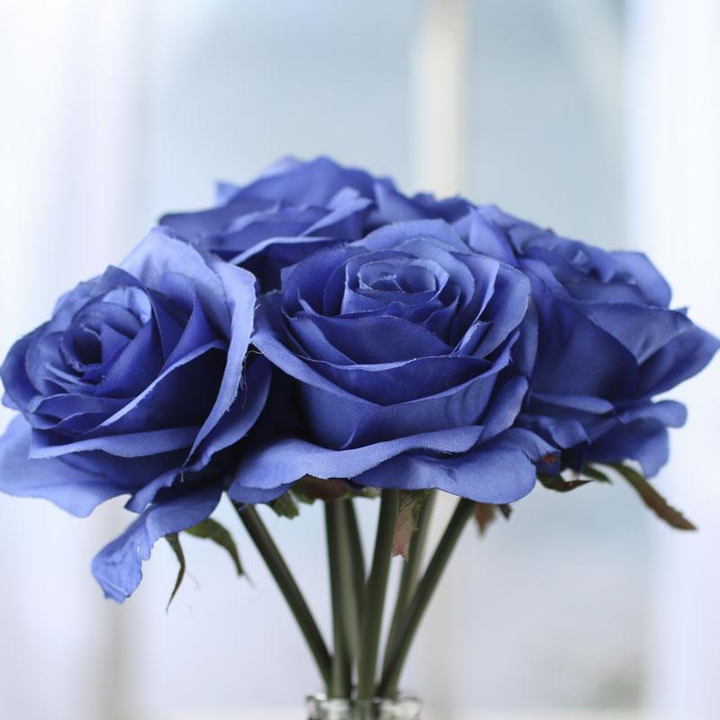 Royal Blue Artificial Open Rose Bouquet Bushes