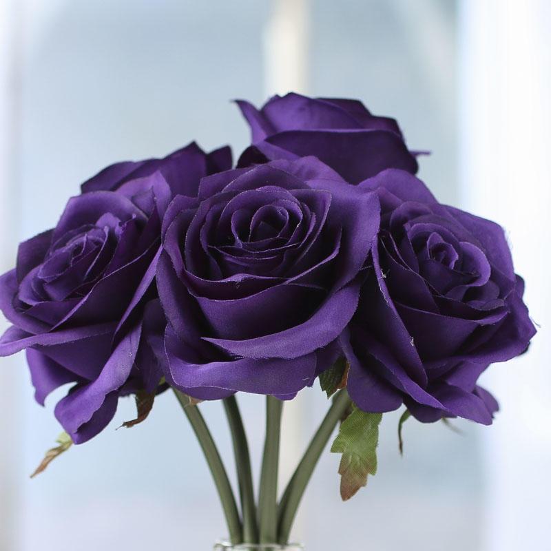 Purple Artificial Open Rose Bouquet Bushes And Bouquets