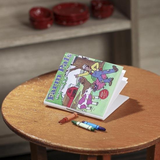 Miniature Coloring Book and Crayons - Fairy Garden Miniatures ...