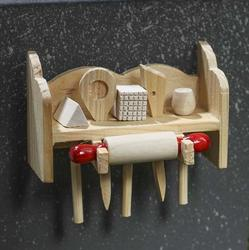 Wooden Kitchen Tool Set Magnet Kitchen Miniatures Dollhouse Miniatures Doll Making