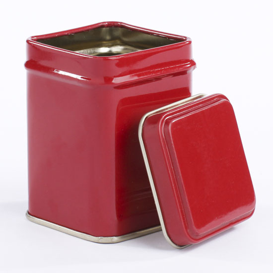 Small red spice tin decorative containers kitchen and for Small tin containers