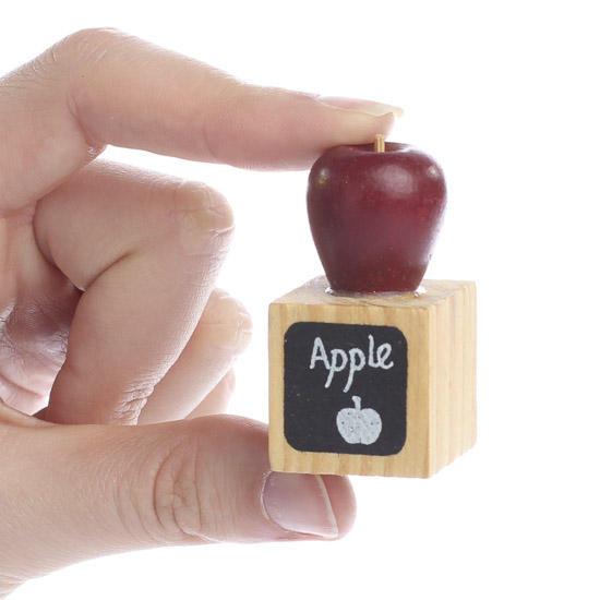Apple Home Decor: Miniature Wood Block With Apple