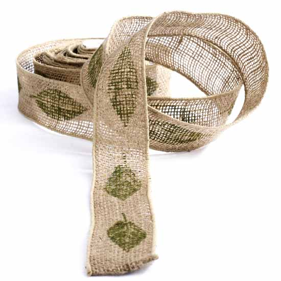Leaf print wired burlap ribbon ribbon and trims craft for Craft ribbons and trims