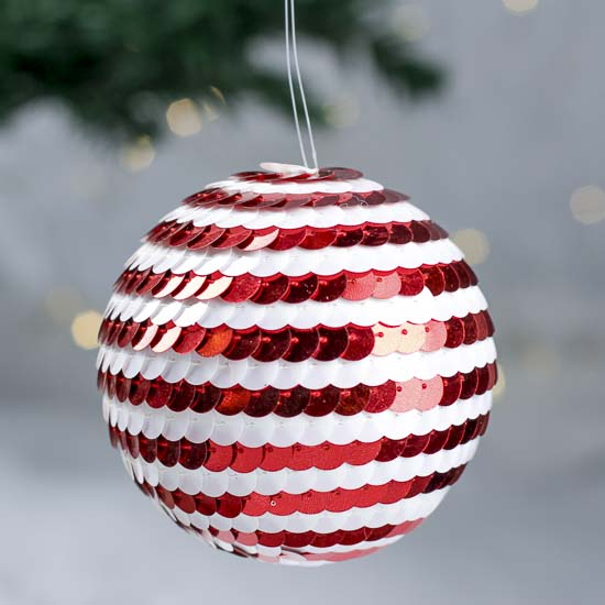 Red and White Sequin Ornament Ball - Christmas Ornaments ...