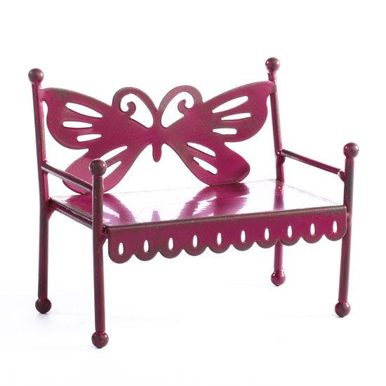Rustic Metal Butterfly Bench What 39 S New Dollhouse Miniatures Doll Making Supplies Craft