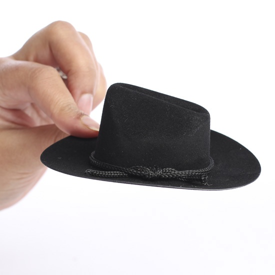 Miniature flocked cowboy hat doll hats doll making for Tiny top hats for crafts